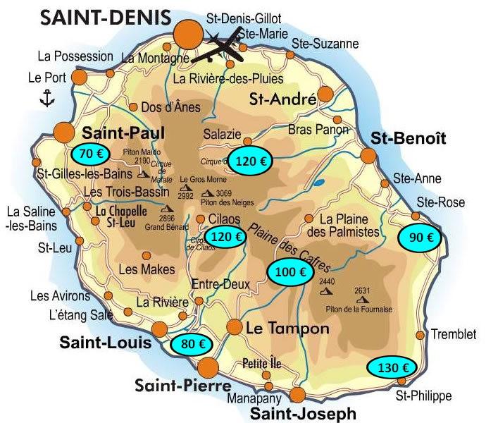 Tarifs au départ de Saint Denis Roland Garros